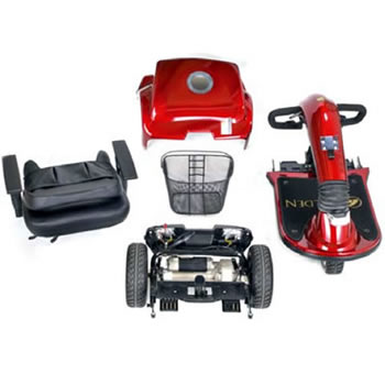 Various parts for a mobility scooter
